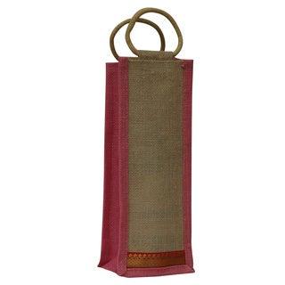 Eco-friendly Pink Trim Reusable Single Bottle Jute Wine Bag (India)