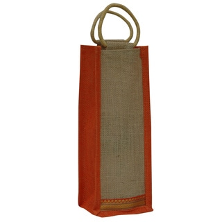 Eco-friendly Orange Trim Reusable Single Bottle Jute Wine Bag (India)