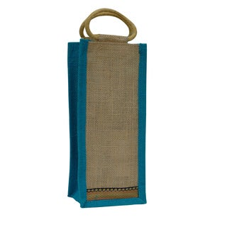 Eco-friendly Light Blue Trim Reusable Single Bottle Jute Wine Bag (India)