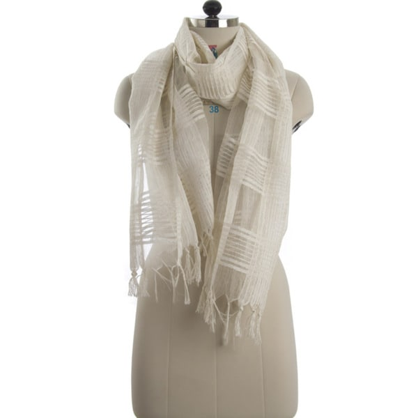 Handwoven Check White Silk Scarf (India)