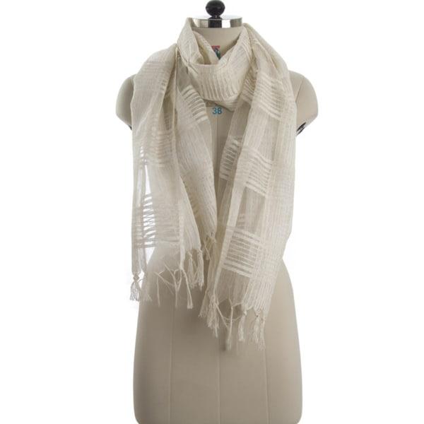Handwoven Check White Silk Scarf (India)