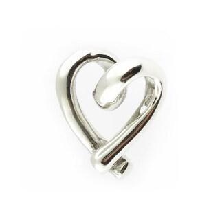 Handmade Sterling Silver Small Heart Silhouette Slide Pendant (Thailand)