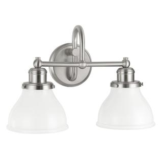 Baxter 2-light Bath/ Vanity in a Brushed Nickel Finish with Milk Glass