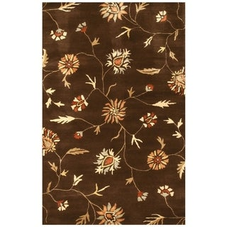 EORC IE37BN Brown Wool and Silk Floral Rug (8'9 x 11'9)
