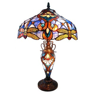 Tiffany-style Bronze Victorian Double Lit 3-light Table Lamp