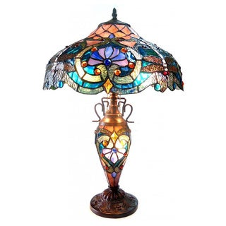 Tiffany-style Bronze Victorian design Double-lit 3-light Table Lamp