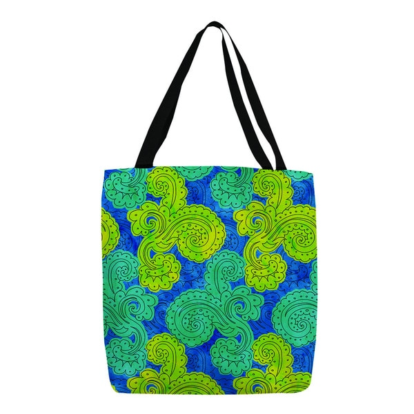 Thumbprintz Royal Blue Funky Florals Paisley Tote