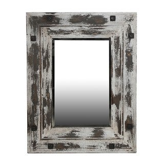 Distressed White Wooden Reclaimed Mirror