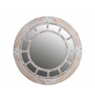 32-inch Round Whitewash Mirror