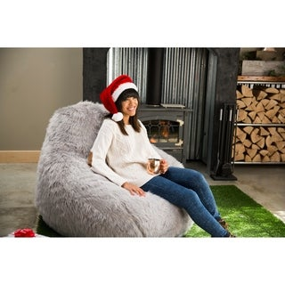 BeanSack Big Joe Lux Faux Fur Large Teardrop Bean Bag Chair