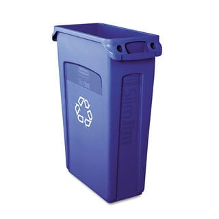 Rubbermaid 23-gallon Blue Commercial Slim Jim Recycling Container with Venting Channels