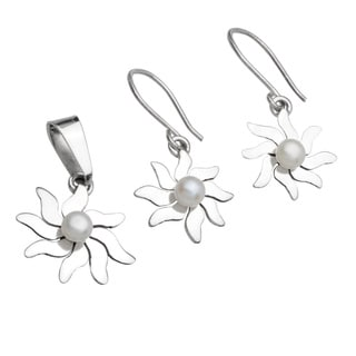 Kele & Co's Sun Pearl Pendant and Earring Set made in .925 Sterling Silver