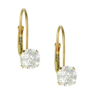 10k Yellow Gold Round Cubic Zirconia Leverback Dangle Earrings