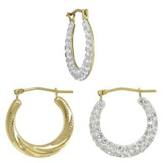 10k Yellow Reversible Crystal Swirl Hoop Earrings