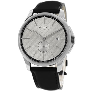 Gucci Men's YA126313 'Timeless' Silver Dial Black Leather Strap Automatic Watch