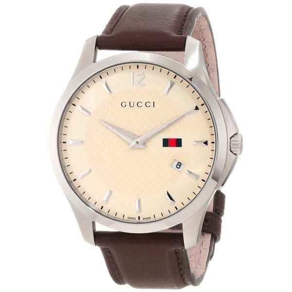 Gucci Men's YA126303 'Timeless' Cream Dial Brown Leather Strap Quartz Watch