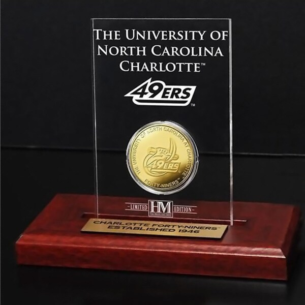 UNC Charlotte Gold Coin in Etched Acrylic