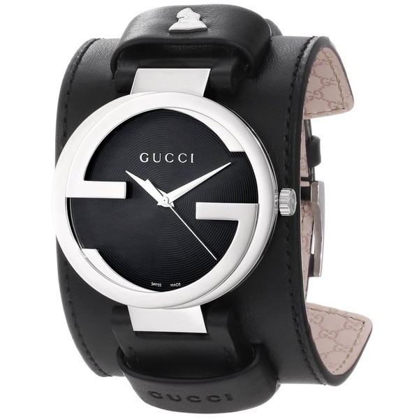 Gucci Men's YA133201 'GrammyXL' Black Dial Black Leather Strap Special Edition Watch