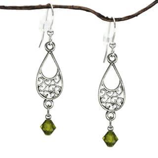 Jewelry by Dawn Pewter Filigree Teardrop Olive Green Crystal Dangle Earrings