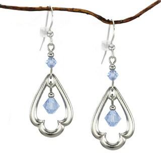 Jewelry by Dawn Blue Crystal Rhodium-plated Scalloped Teardrop Dangle Earrings