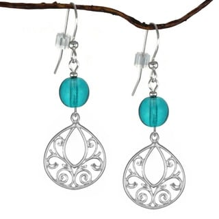 Jewelry by Dawn Sterling Silver Turquoise Blue Glass Fancy Filigree Teardrop Earrings