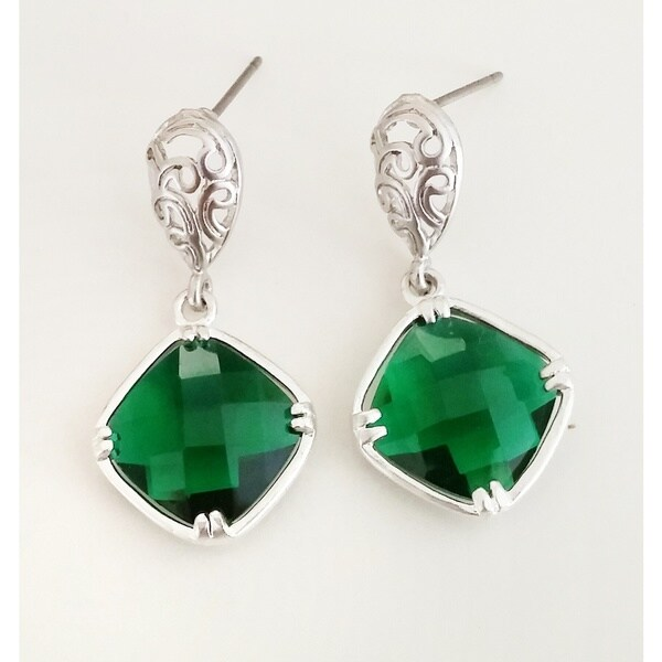 Pretty Little Style Silvertone Green and Silver Faceted Earrings