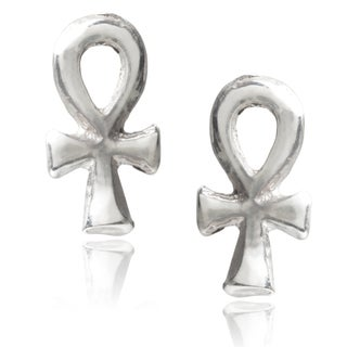 Journee Collection Sterling Silver Ankh Stud Earrings