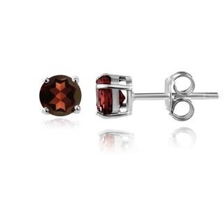 Glitzy Rocks Sterling Silver 5/8ct TGW African Garnet Stud Earrings