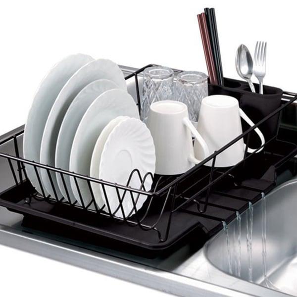 Black 3-piece Dish Drainer Set