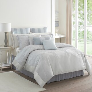 Modern Living Lourdes Jacquard Blue/ White 4-piece Comforter Set