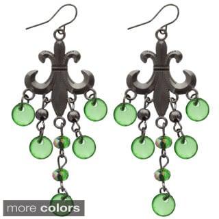Kate Marie 'Dani' Acrylic Rhinestone Fluer-de-Lis Dangle Earrings