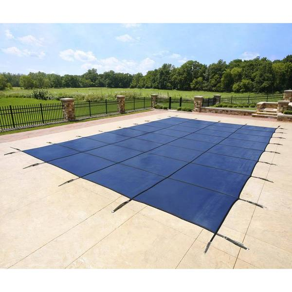 Blue Rectangular In-ground Pool Safety Cover