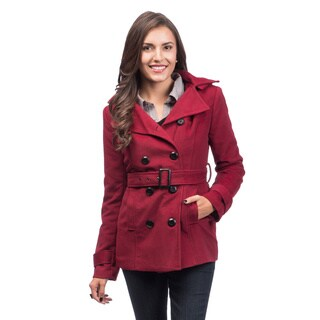 Women's Burgundy Double Breasted Trench Coat