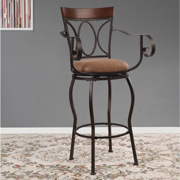Adeco Dark Bronze Metal Swivel Barstool Chair with Arm Rests, Oval Patterned Back