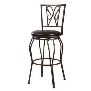 "Adeco Dark Bronze Metal Swivel Dining or Barstool Chair, Intricate, ""Wing"" Spat"