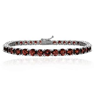 Glitzy Rocks Sterling Silver 14ct TGW African Garnet Round Tennis Bracelet