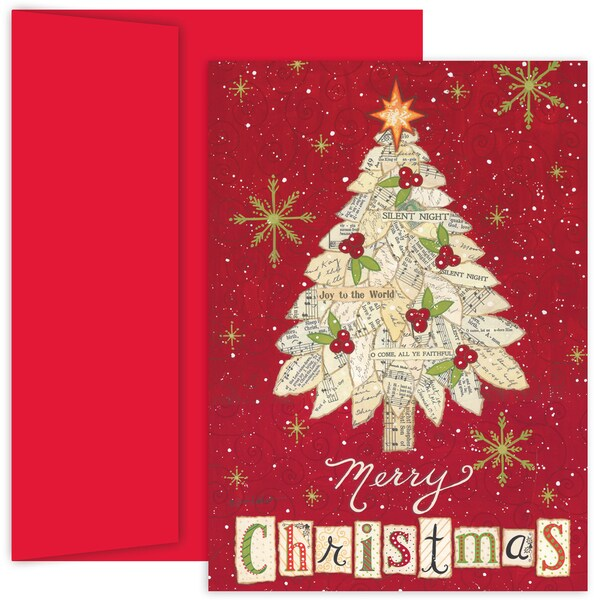 Masterpiece Studios Collage Tree Boxed Holiday Cards, 18 ct