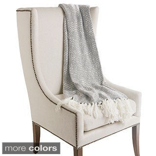 Fringe Wool Knit Throw Blanket