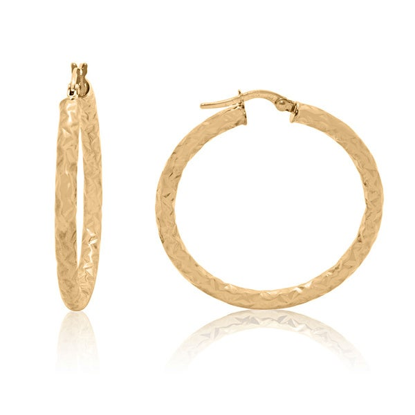 Gioelli 14k Yellow Gold Large Diamond-cut Hoop Earrings