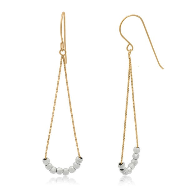 Gioelli 14k Gold Yellow Box Chain Tear Drop Dangle Earrings with White Mirror Beads