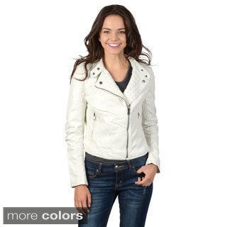 Hailey Jeans Co. Junior's Faux Leather Zippered Jacket