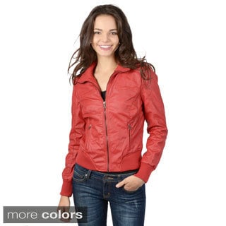 Hailey Jeans Co. Junior's Faux Leather Pocket Detail Jacket