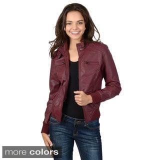 Hailey Jeans Co. Junior's Faux Leather Zipper Detail Jacket