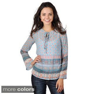 Hailey Jeans Co. Junior's Printed Chiffon Bell Sleeve Top