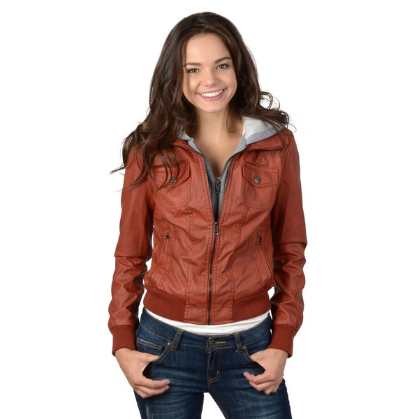 Hailey Jeans Co. Junior's Faux Leather Hooded Jacket