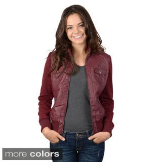 Hailey Jeans Co. Junior's Faux Leather Zip-up Jacket