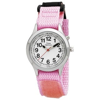 Talking Kids' Pink Hook and Loop Wraparound Strap Watch