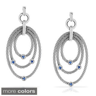 Gioelli Sterling Silver Stainless Steel Gemstone Accent Three Oval Dangle Earrings