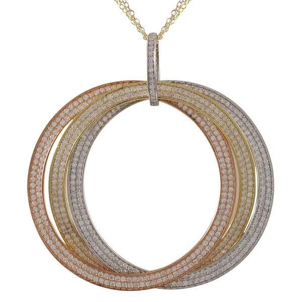 Sterling Silver Tri-color Cubic Zirconia Large Link Pendant Necklace
