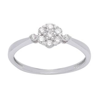 Platinum over Silver 1/4ct TDW White Diamond Cluster Ring (I-J, I1-I2)